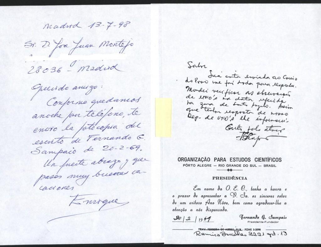 Cartas de Enrique Villagrasa y de Sampaio