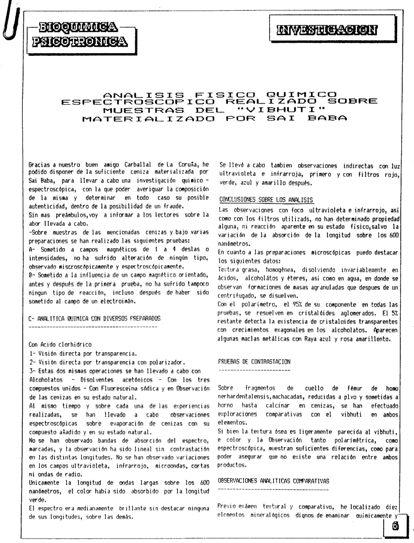 Informe quimico del analisis del vibhuti materializado por Sai Baba