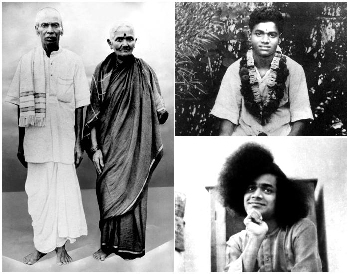 Los padres de Sai Baba y dos fotos de su juventud
