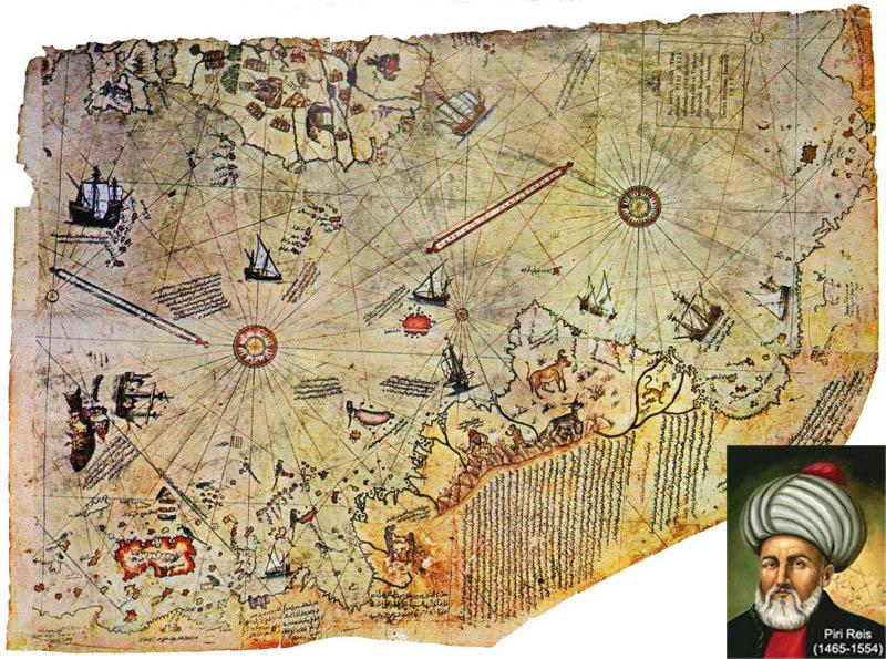 Resultado de imagen de 3 Mapa de piri reis DATA:1513 Descubrimiento:1929
