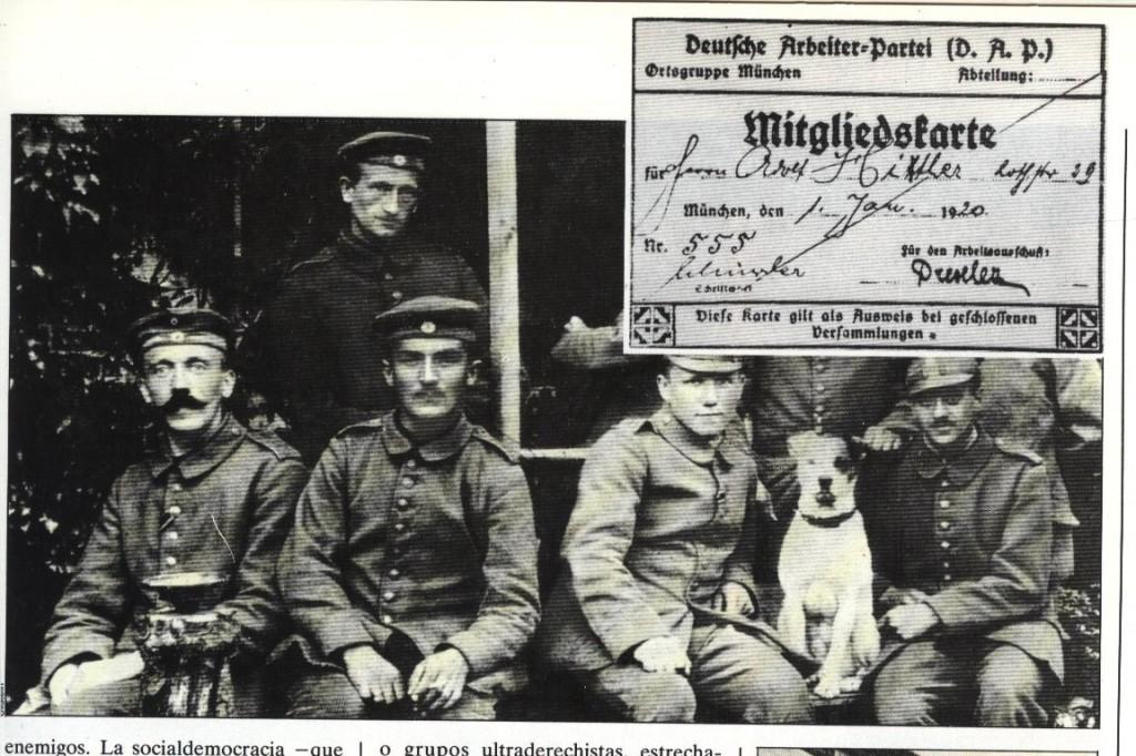 El gefreiter Hitler (1º izqda.) y su carnet auténtico del DAP