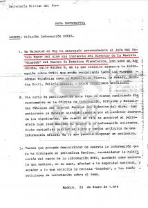 Documento que demuestra la intervención del Rey Juan Carlos I en la desclasificación