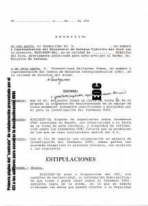 Primera pagina del ya legendario contrato de colaboracion de Ballester Olmos con el Ejercito del Aire