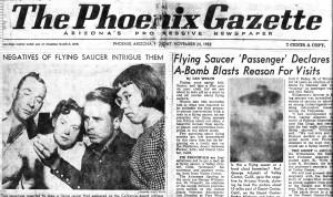 El 24 de noviembre de 1952 el The Phoenix Gazette publicó por primera vez la historia del encuentro en el desierto de Adamski y sus acompañantes