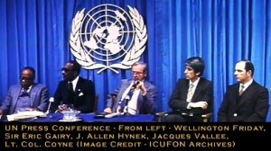 UN Press Conference - From left - Wellington Friday, Sir Eric Gairy, and J. Allen Hynek, Jacques Vallee and Lt. Col. Coyne (Med & Text of Names) (Image Credit - ICUFON Archives)