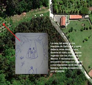 40 La casa del autor, en los bosques de Galicia, tal y como se ve desde el aire.b
